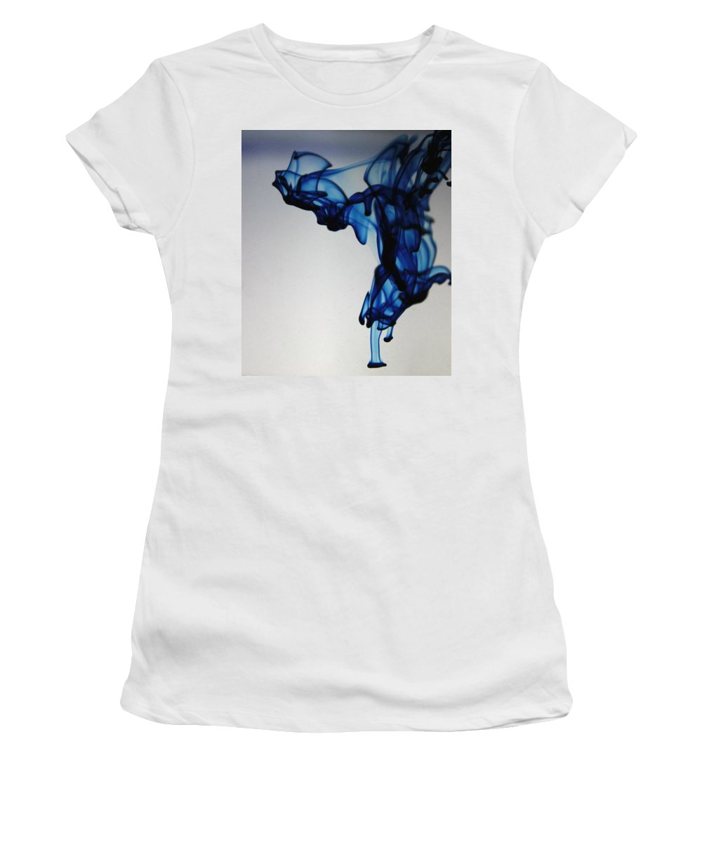 Ink Women's T-Shirt (Athletic Fit) featuring the photograph Blue Swirls by Monique Flint