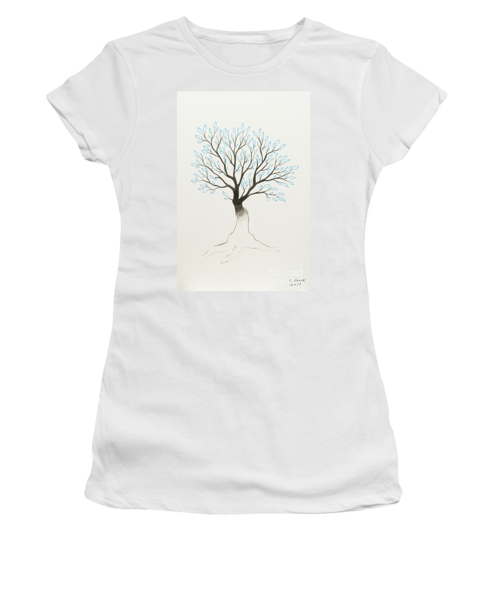 Tree Women's T-Shirt featuring the painting Blue Tree by Stefanie Forck