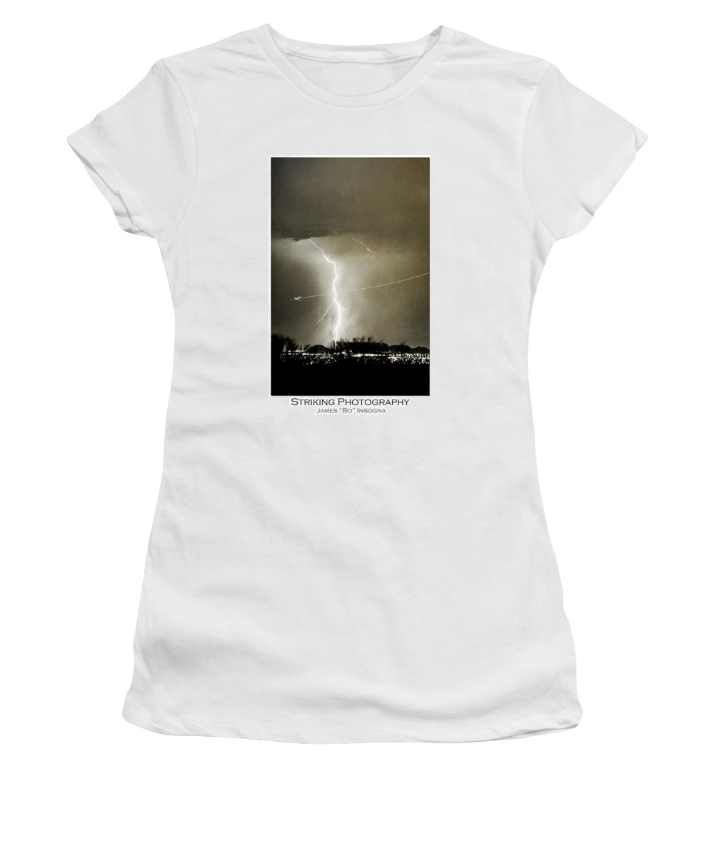 Lightning Women's T-Shirt featuring the photograph Bo Trek Lightning Bw Fine Art Poster Print by James BO Insogna