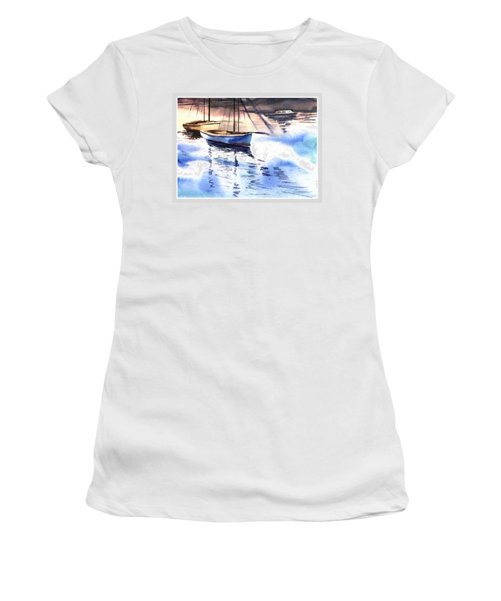 Watercolor Women's T-Shirt (Athletic Fit) featuring the painting Boat And The River by Anil Nene