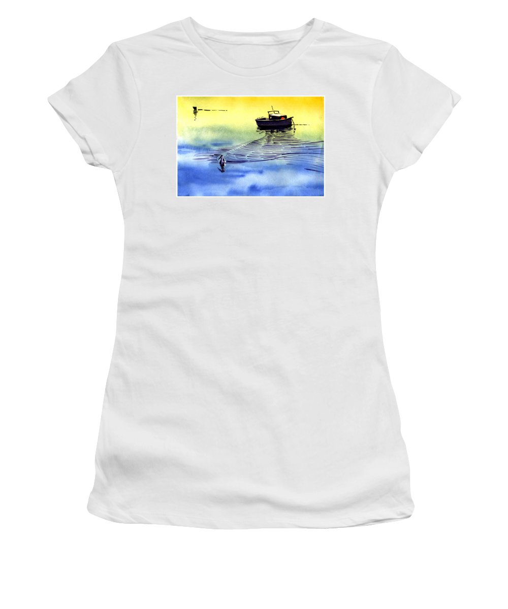 Watercolor Women's T-Shirt (Athletic Fit) featuring the painting Boat And The Seagull by Anil Nene