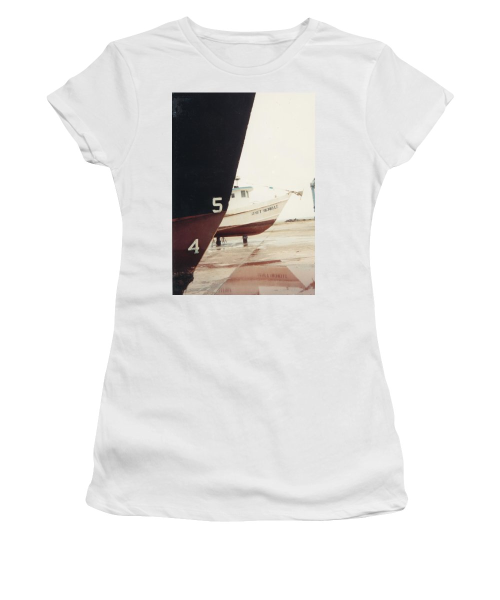 Boat Reflection Women's T-Shirt (Athletic Fit) featuring the photograph Boat Reflection And Angles by Cindy New