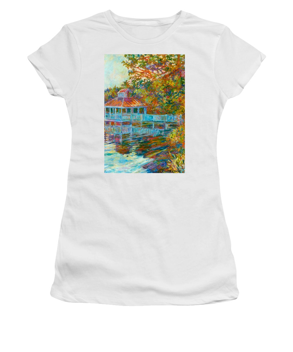 Mountain Lake Women's T-Shirt (Athletic Fit) featuring the painting Boathouse At Mountain Lake by Kendall Kessler