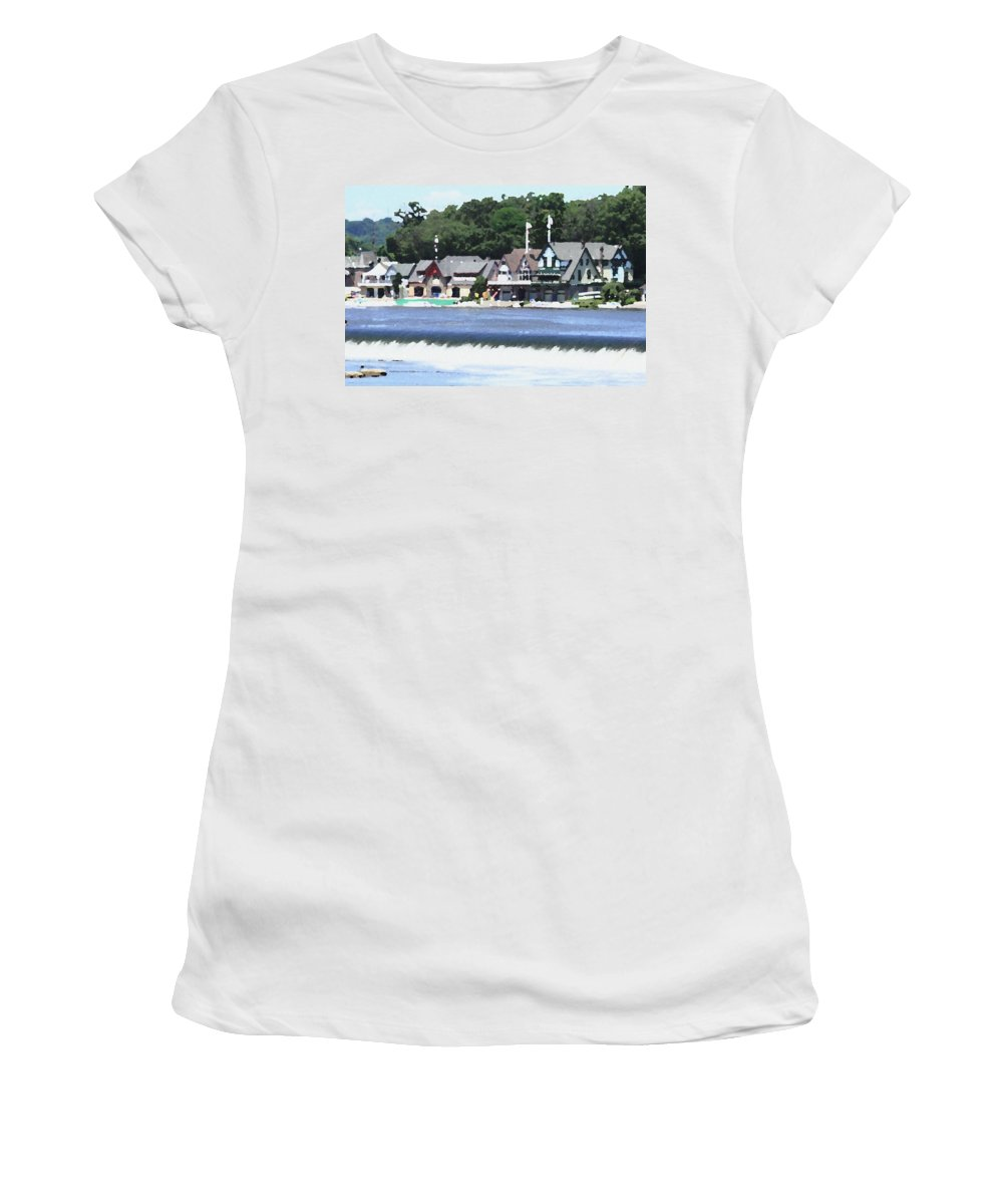 Boathouse Women's T-Shirt featuring the photograph Boathouse Row - Palette Knife by Lou Ford