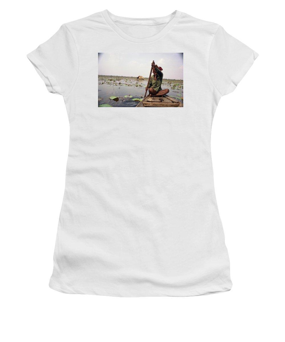 Cambodia Women's T-Shirt (Athletic Fit) featuring the photograph Boatman - Battambang by Patrick Klauss