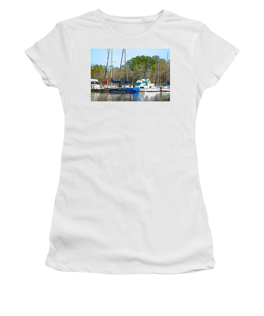Boats Women's T-Shirt (Athletic Fit) featuring the photograph Boats In The Water by Charlie and Norma Brock