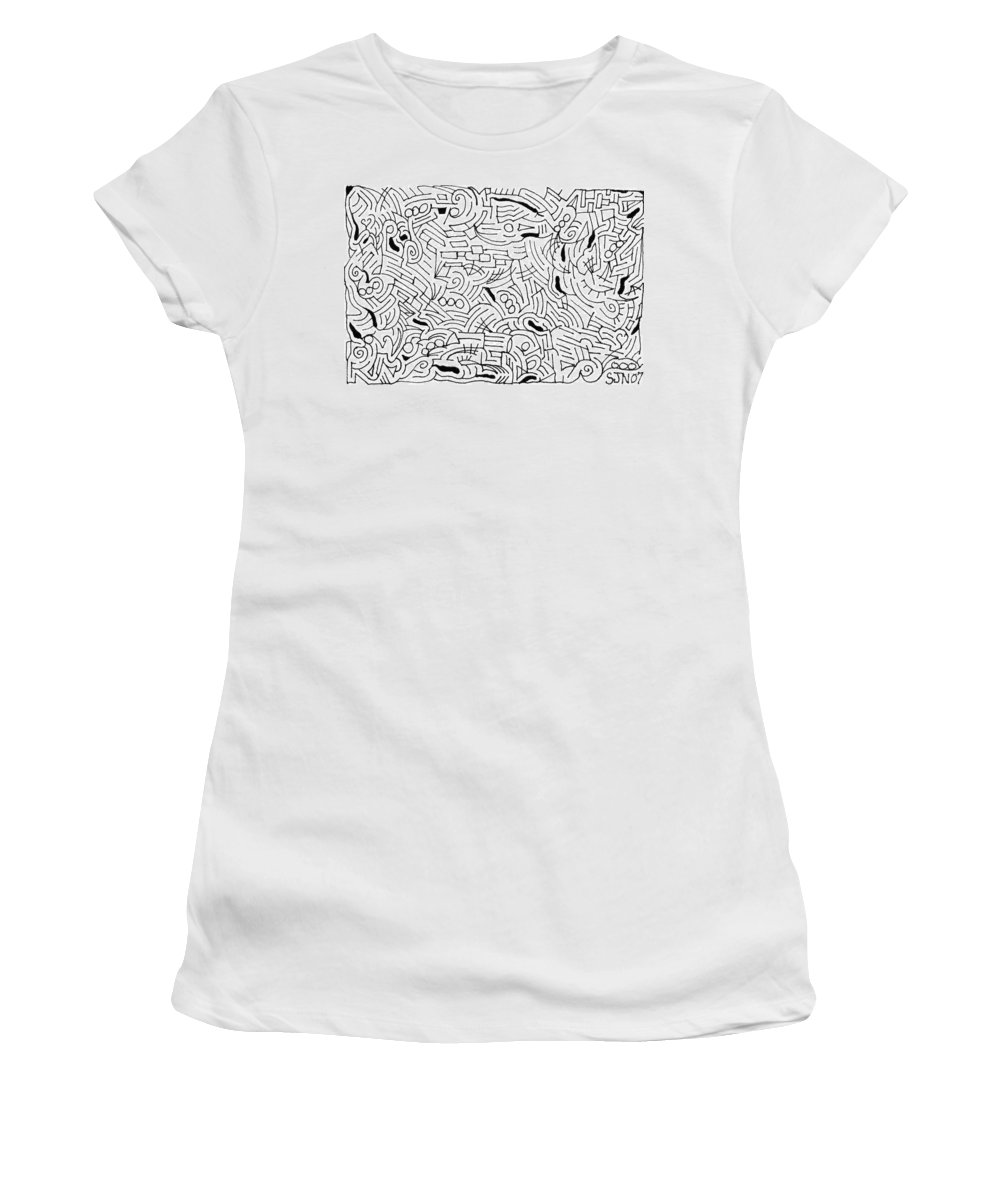 Mazes Women's T-Shirt (Athletic Fit) featuring the drawing Bonding by Steven Natanson