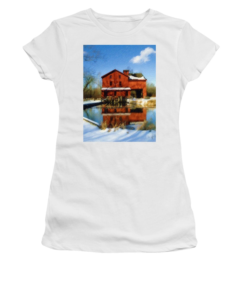 Bonneyville Mill Women's T-Shirt (Athletic Fit) featuring the photograph Bonneyville In Winter by Sandy MacGowan
