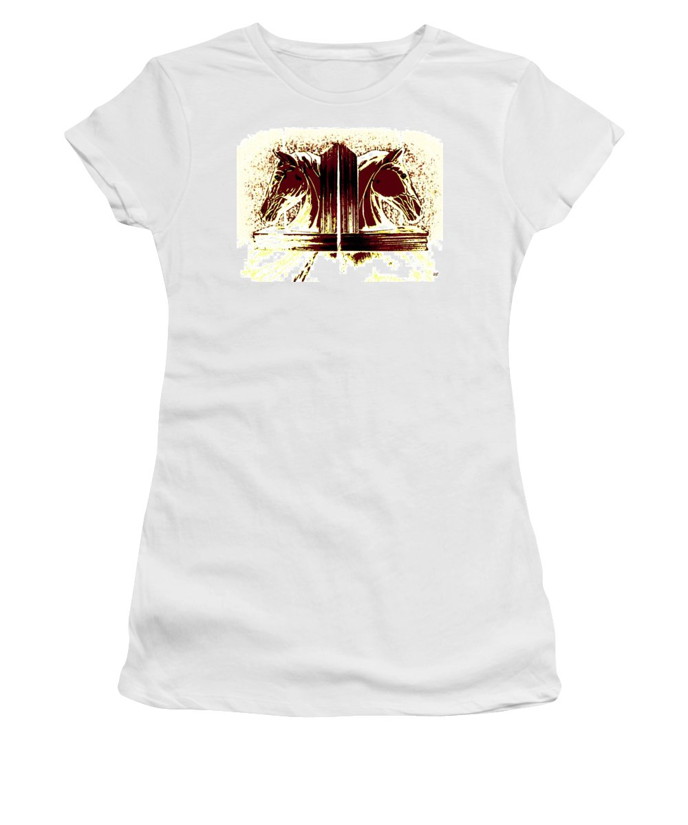 Horses Women's T-Shirt (Athletic Fit) featuring the digital art Bookend Buddies by Will Borden