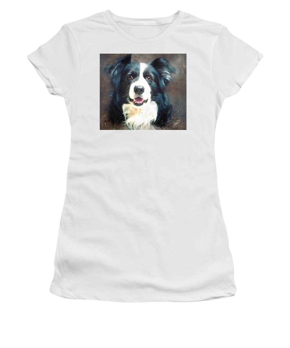 Collie Women's T-Shirt (Athletic Fit) featuring the digital art Border Collie by Tom Schmidt