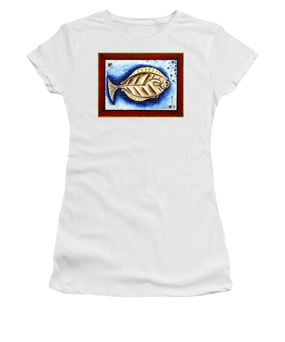 Art Women's T-Shirt (Athletic Fit) featuring the painting Bottom Of The Sea Creature Original Madart Painting by Megan Duncanson