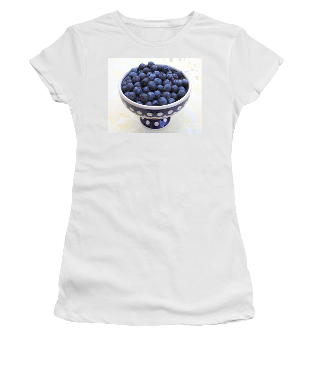 Blueberries Women's T-Shirt featuring the photograph Bowl Of Blueberries by Carol Groenen