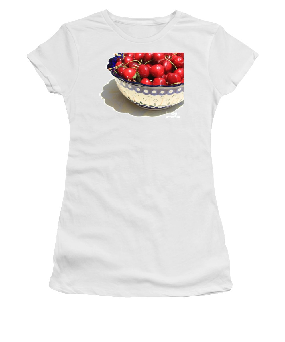 Cherries Women's T-Shirt featuring the photograph Bowl Of Cherries With Shadow by Carol Groenen