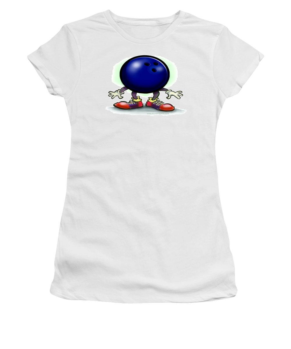 Bowl Women's T-Shirt (Athletic Fit) featuring the greeting card Bowling by Kevin Middleton