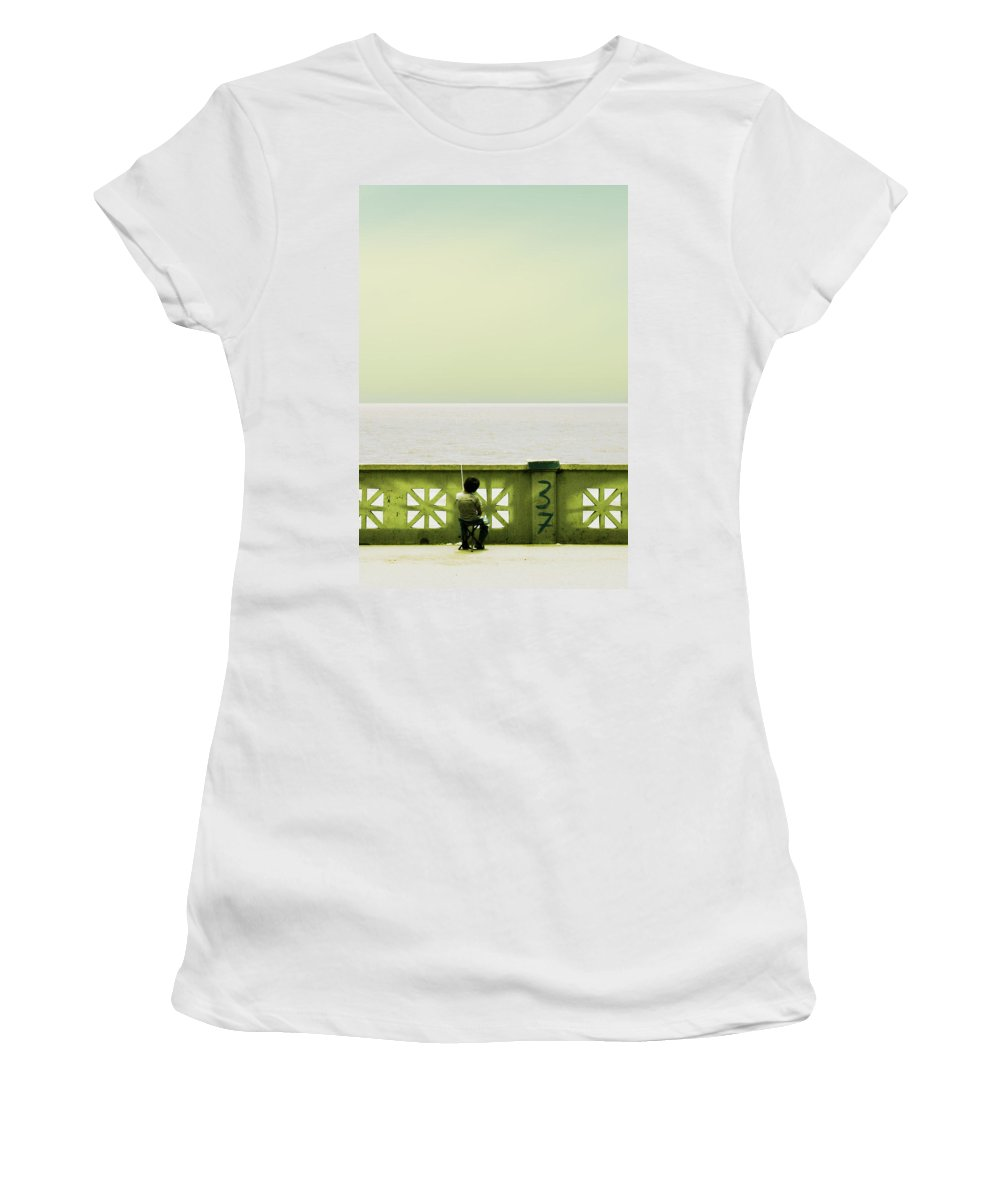 Argentina Women's T-Shirt (Athletic Fit) featuring the photograph Boy Fishing by Osvaldo Hamer