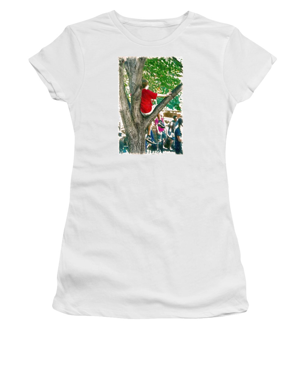 Boy Women's T-Shirt (Athletic Fit) featuring the digital art Boy In A Tree by John Haldane
