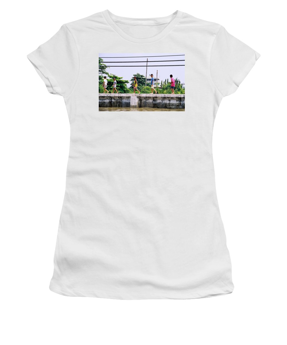 Children Women's T-Shirt (Athletic Fit) featuring the photograph Boys In Bangkok by Mary Rogers