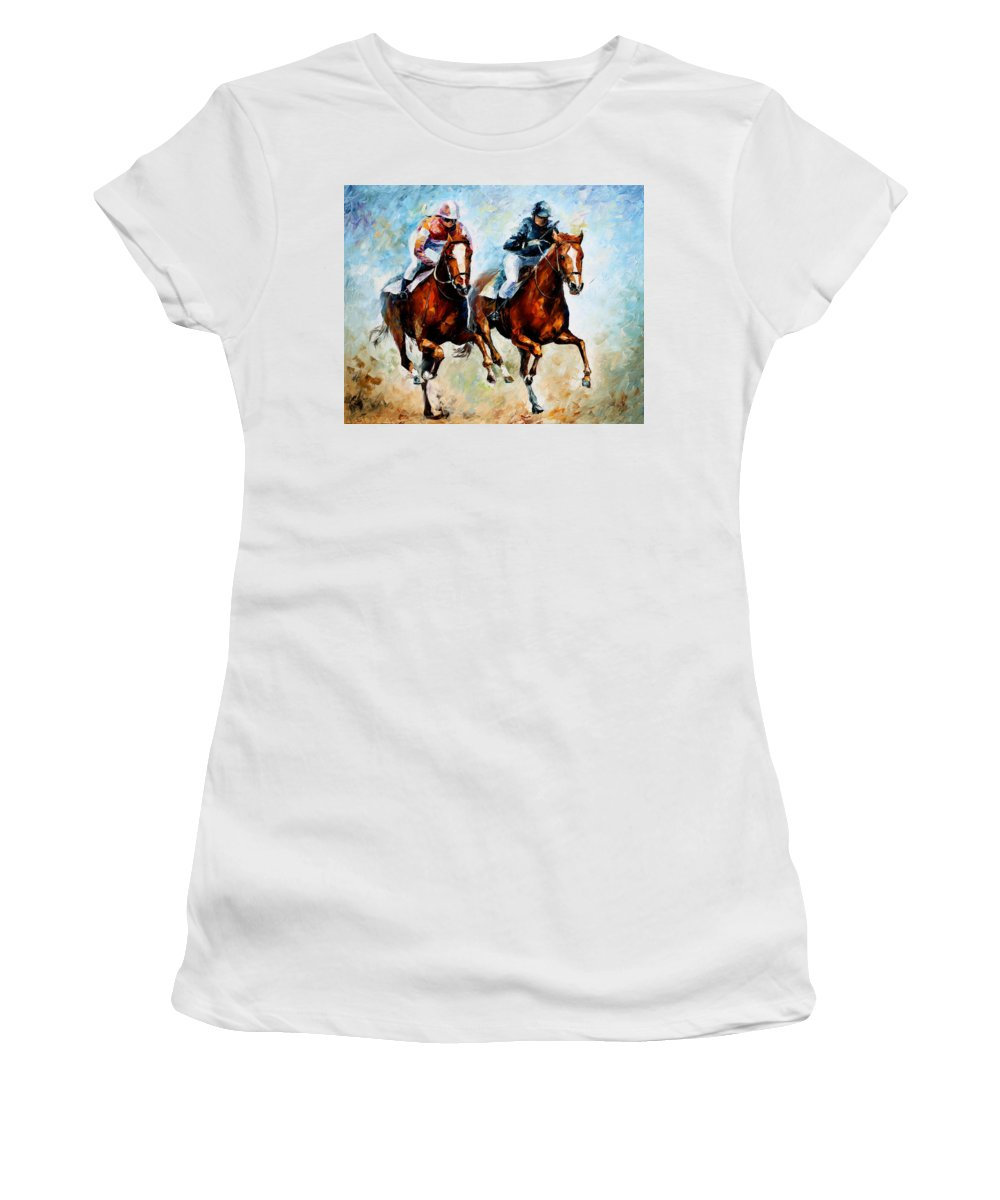Horses Women's T-Shirt (Athletic Fit) featuring the painting Brave Girls by Leonid Afremov
