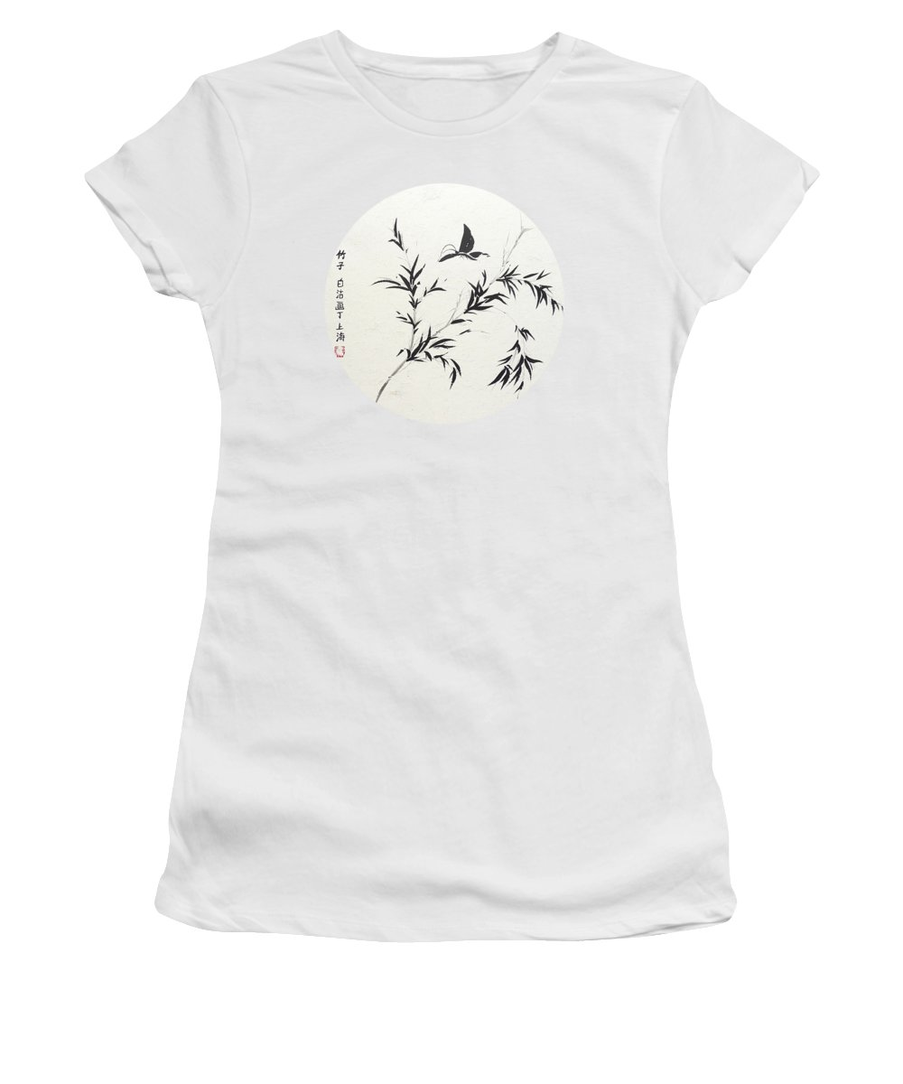 Chinese Women's T-Shirt featuring the painting Breeze Of Spring - Round by Birgit Moldenhauer