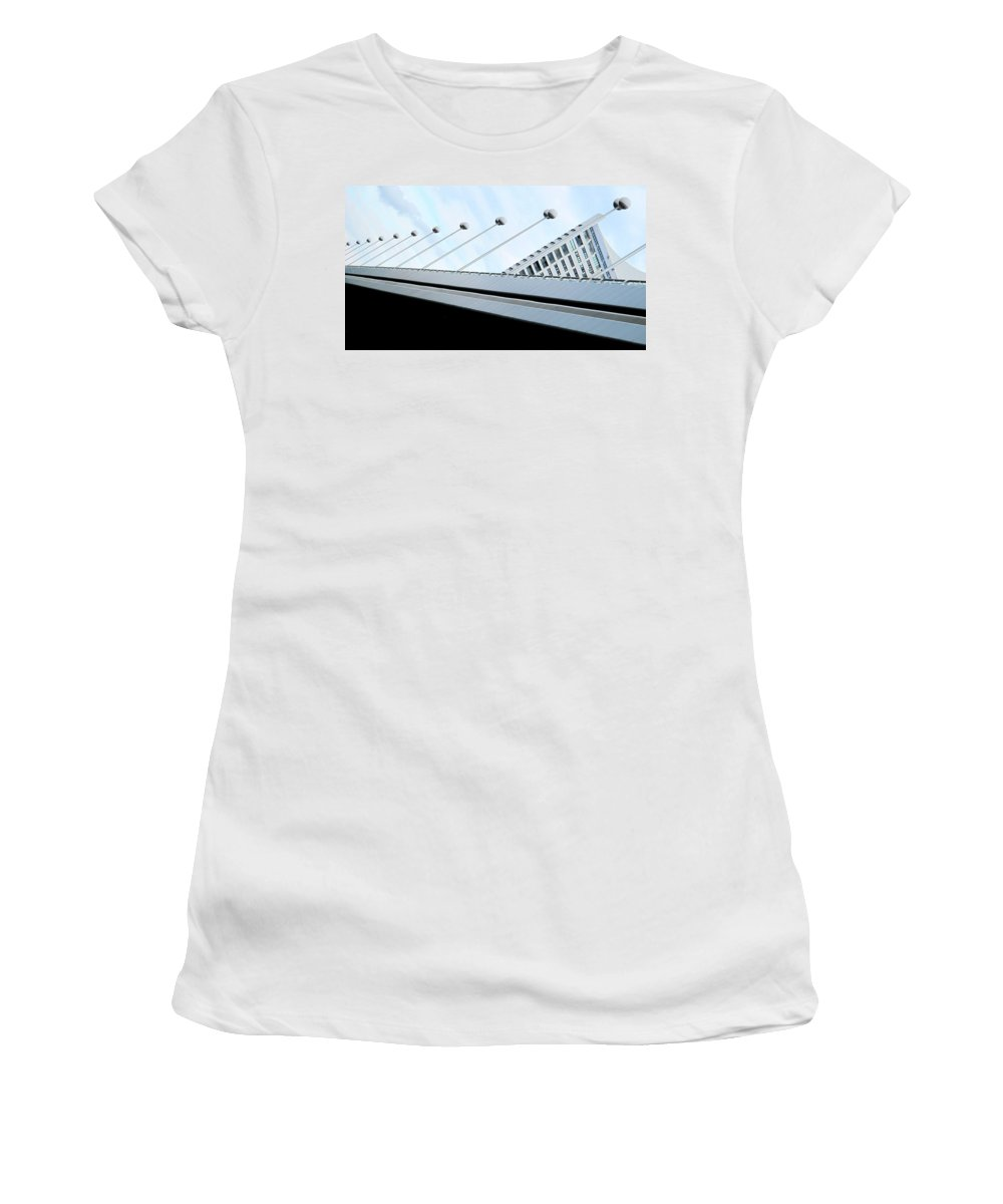 Vienna Women's T-Shirt (Athletic Fit) featuring the photograph Bridge Over The Danube by Ian MacDonald