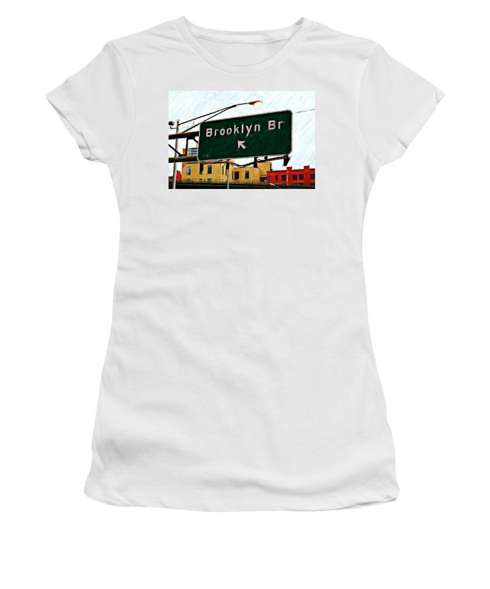 Highway Sign Women's T-Shirt (Athletic Fit) featuring the digital art Bridge Thisaway Sketch by Randy Aveille