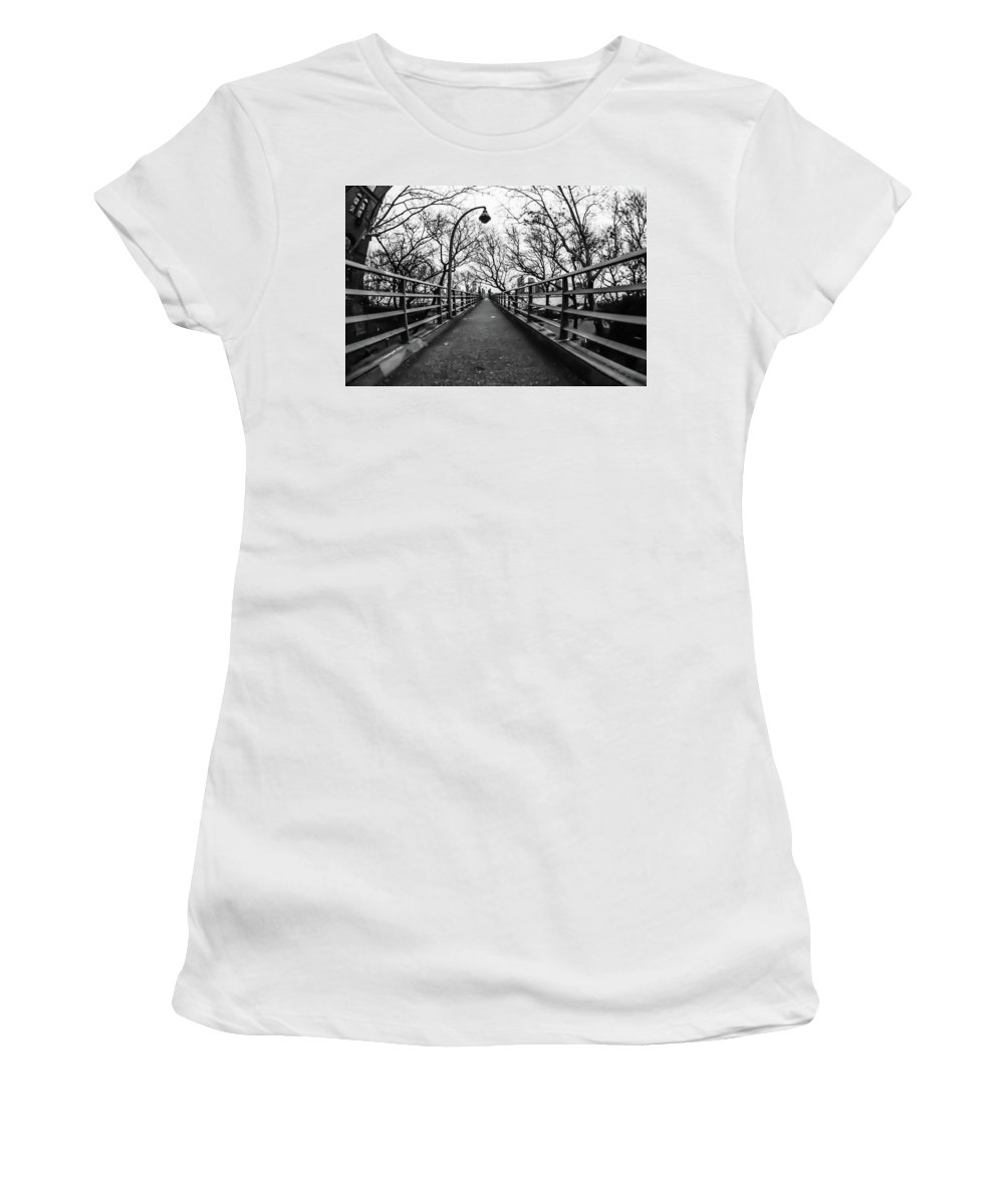 East River Women's T-Shirt (Athletic Fit) featuring the photograph Bridge To The East River by Richard Cheski