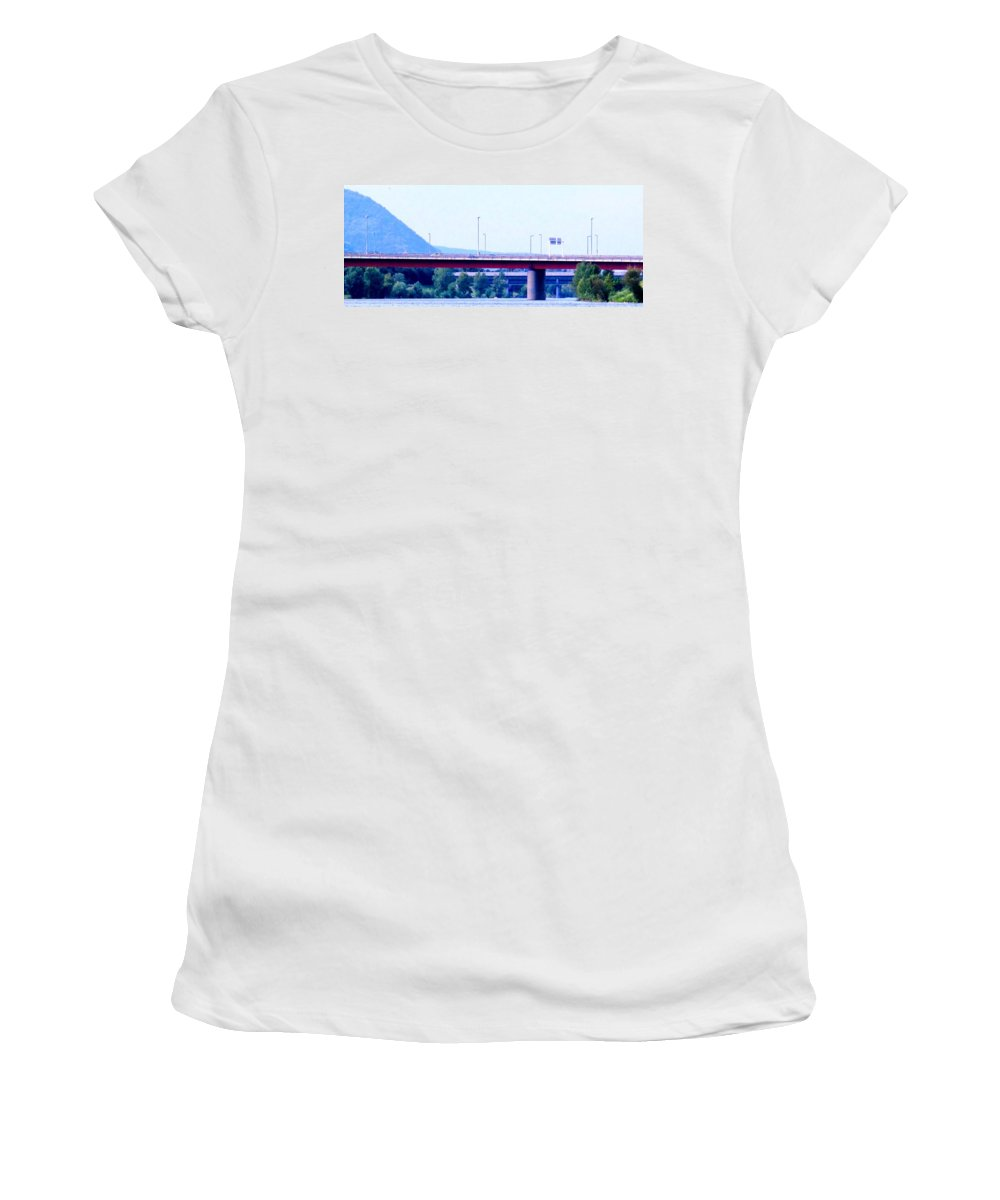 Vienna Women's T-Shirt (Athletic Fit) featuring the photograph Bridges To The Vienna Woods by Ian MacDonald