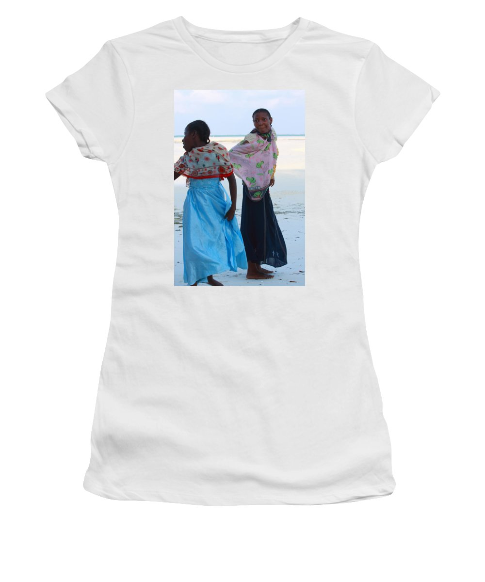 People Women's T-Shirt featuring the photograph Bright Blue Dress by Aidan Moran