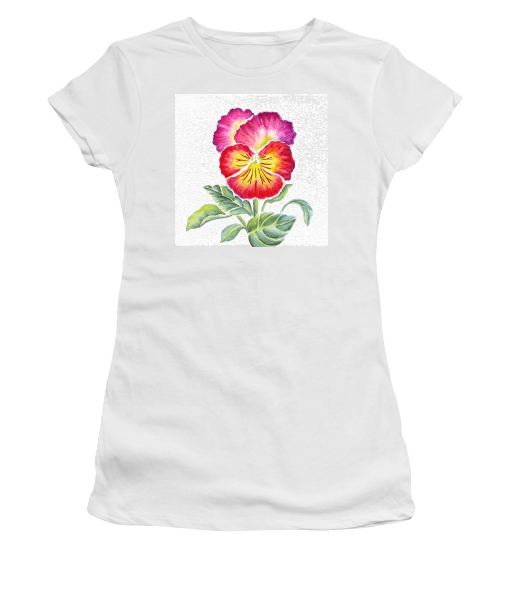 Bright Pansy Women's T-Shirt featuring the painting Bright Pansy by Deborah Ronglien