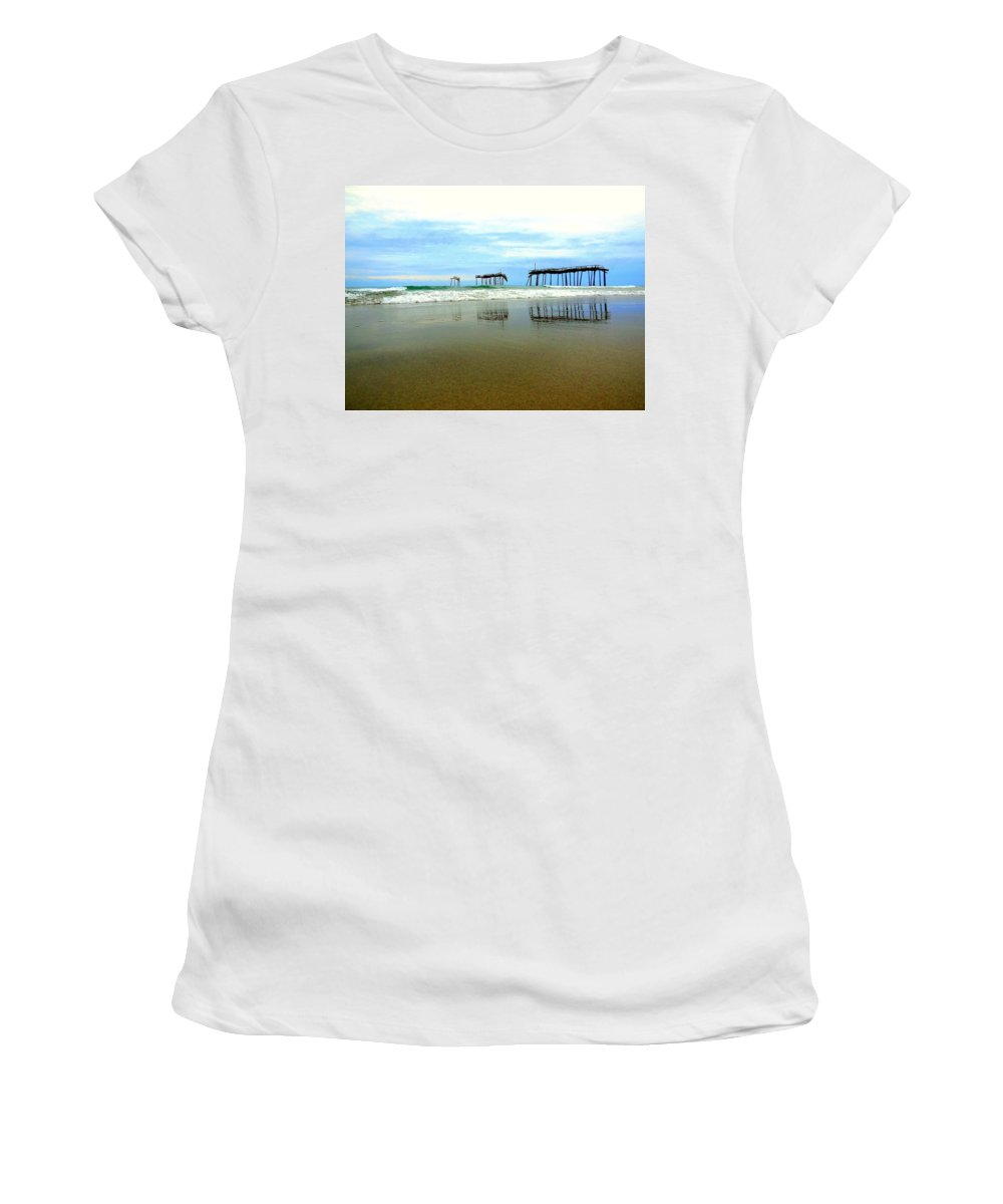 Mark Lemmon Cape Hatteras Nc The Outer Banks Photographer Subjects From Sunrise Women's T-Shirt featuring the photograph Broken Reflection Frisco Pier 2 4/25 by Mark Lemmon