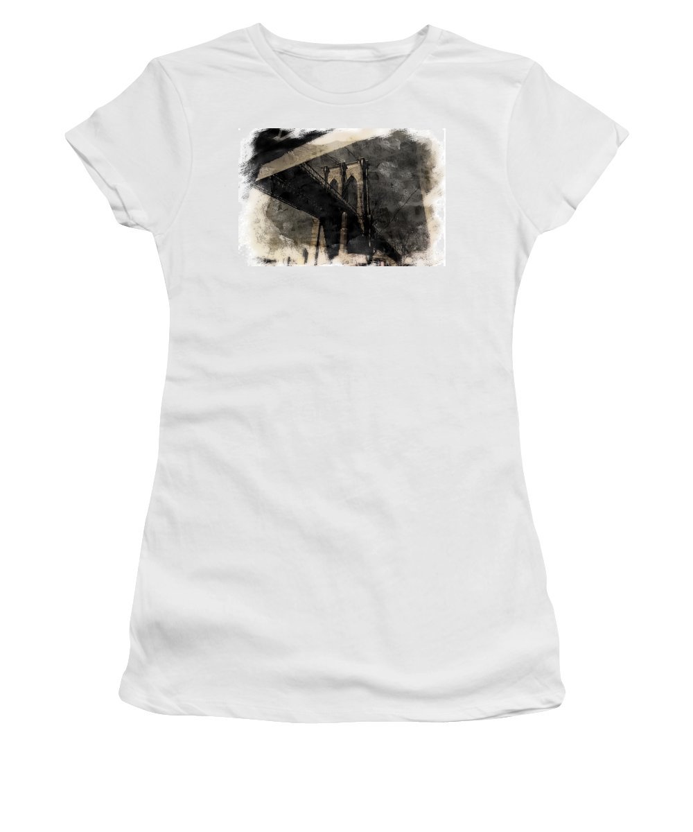 New York Women's T-Shirt featuring the photograph Brooklyn Bridge Reflection Abstract by Jeff Watts