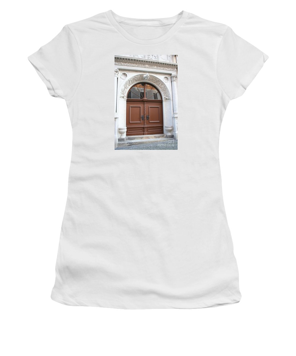 Door Women's T-Shirt (Athletic Fit) featuring the photograph Brown Door by Christiane Schulze Art And Photography