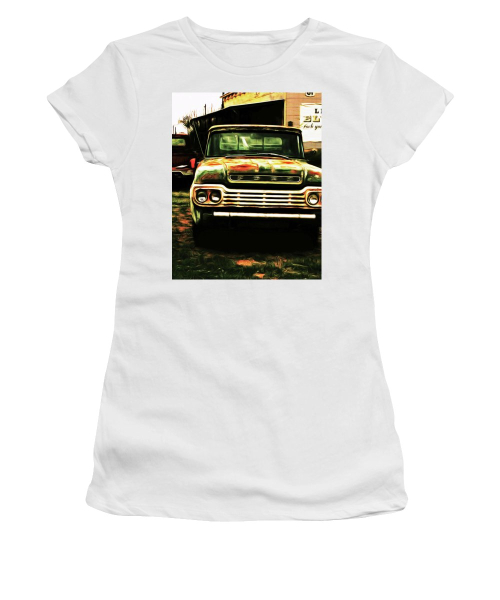 Ford Women's T-Shirt (Athletic Fit) featuring the digital art Bubba by Christopher Fuller