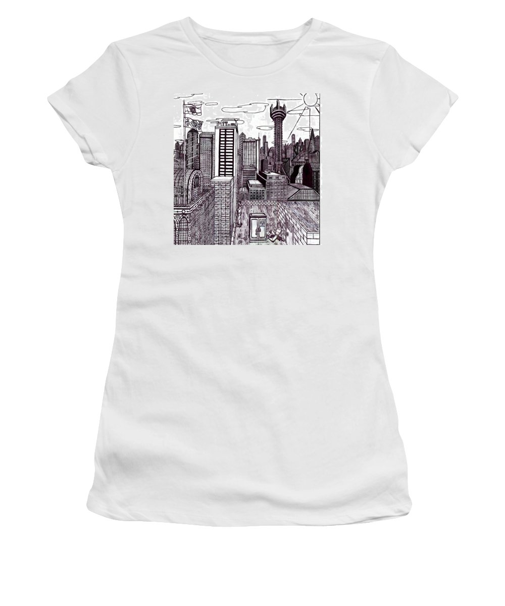 Cityscape Women's T-Shirt (Athletic Fit) featuring the drawing Buenos Aires Year 2065 by Luka Hays