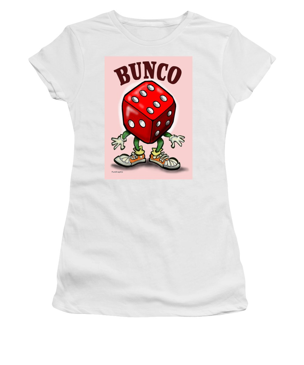Bunco Women's T-Shirt featuring the greeting card Bunco by Kevin Middleton