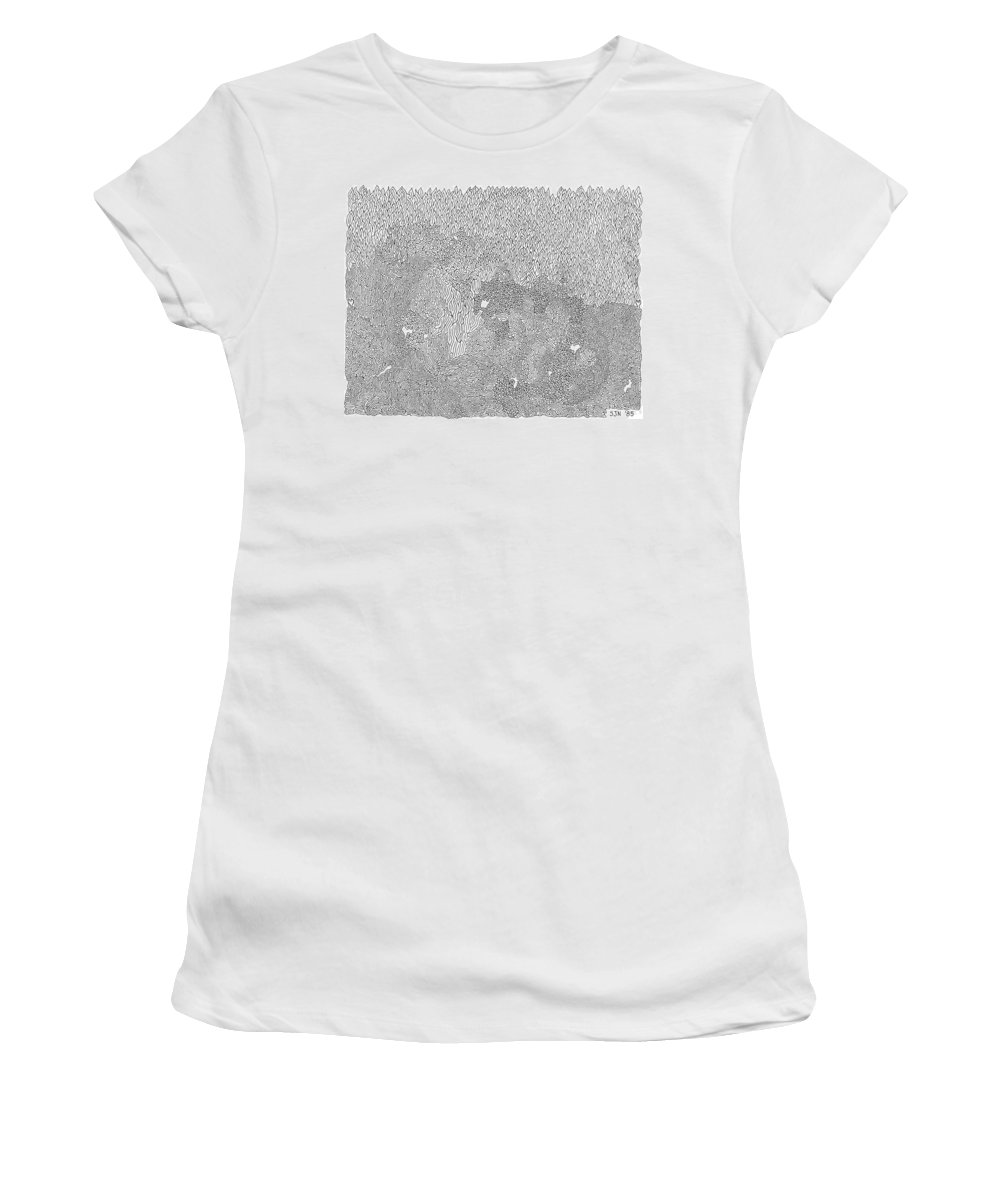 Mazes Women's T-Shirt (Athletic Fit) featuring the drawing Burning Desire by Steven Natanson