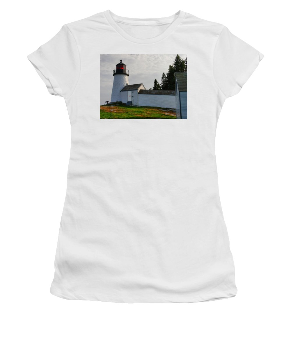 New England Lighthouse Women's T-Shirt (Athletic Fit) featuring the photograph Burnt Island Lighthouse - The Other Side by Nancie DeMellia