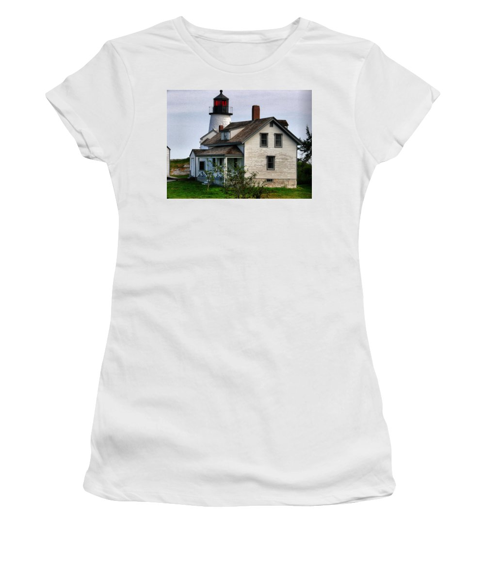 New England Lighthouse Women's T-Shirt (Athletic Fit) featuring the photograph Burnt Island Lighthouse Side View by Nancie DeMellia