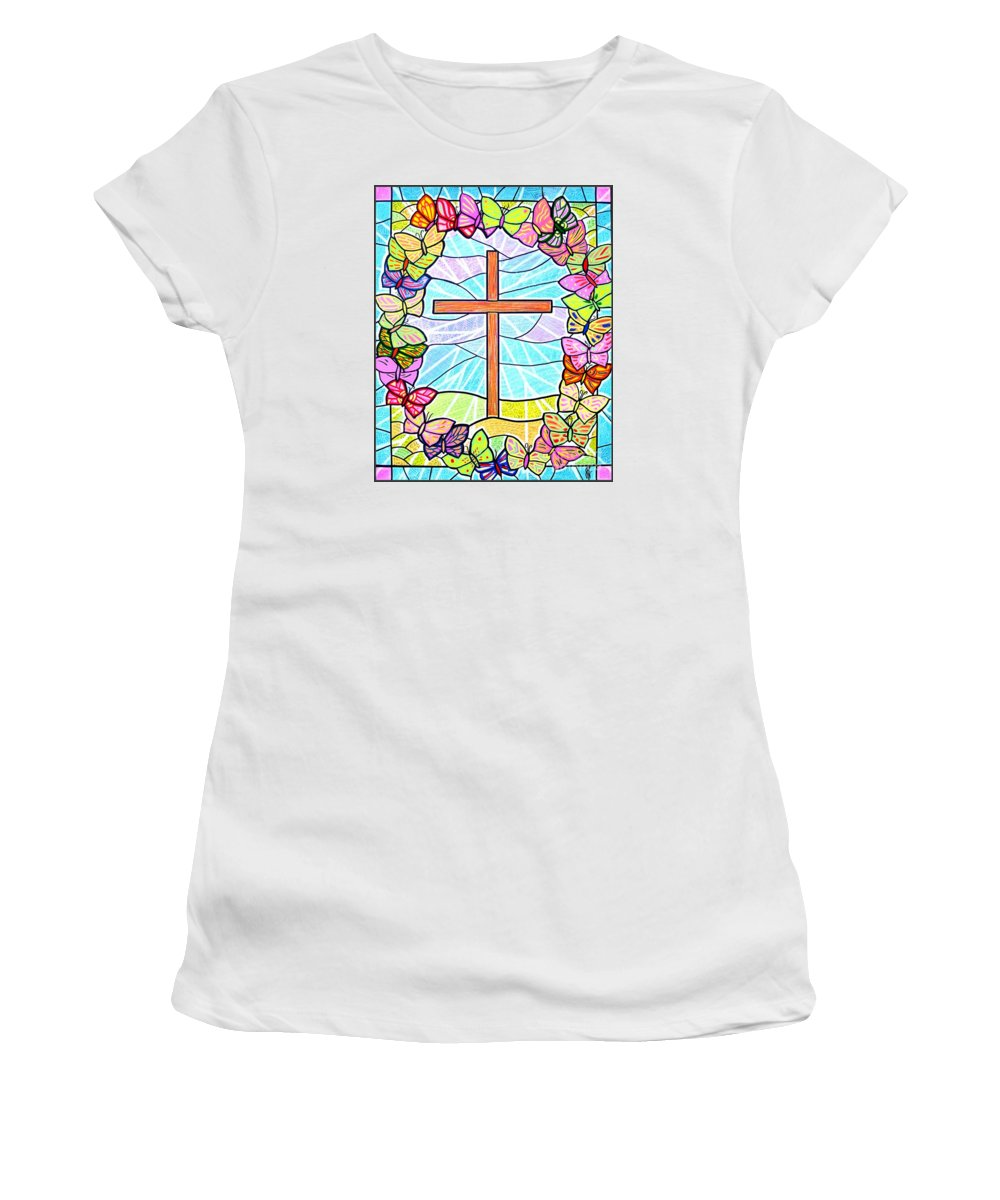 Easter Women's T-Shirt (Athletic Fit) featuring the painting Butterflies And Cross by Jim Harris