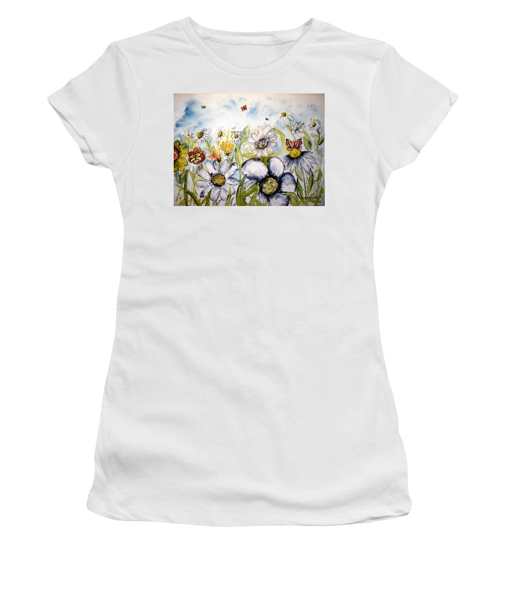 Butterfly Women's T-Shirt (Athletic Fit) featuring the painting Butterflies And Flowers by Derek Mccrea