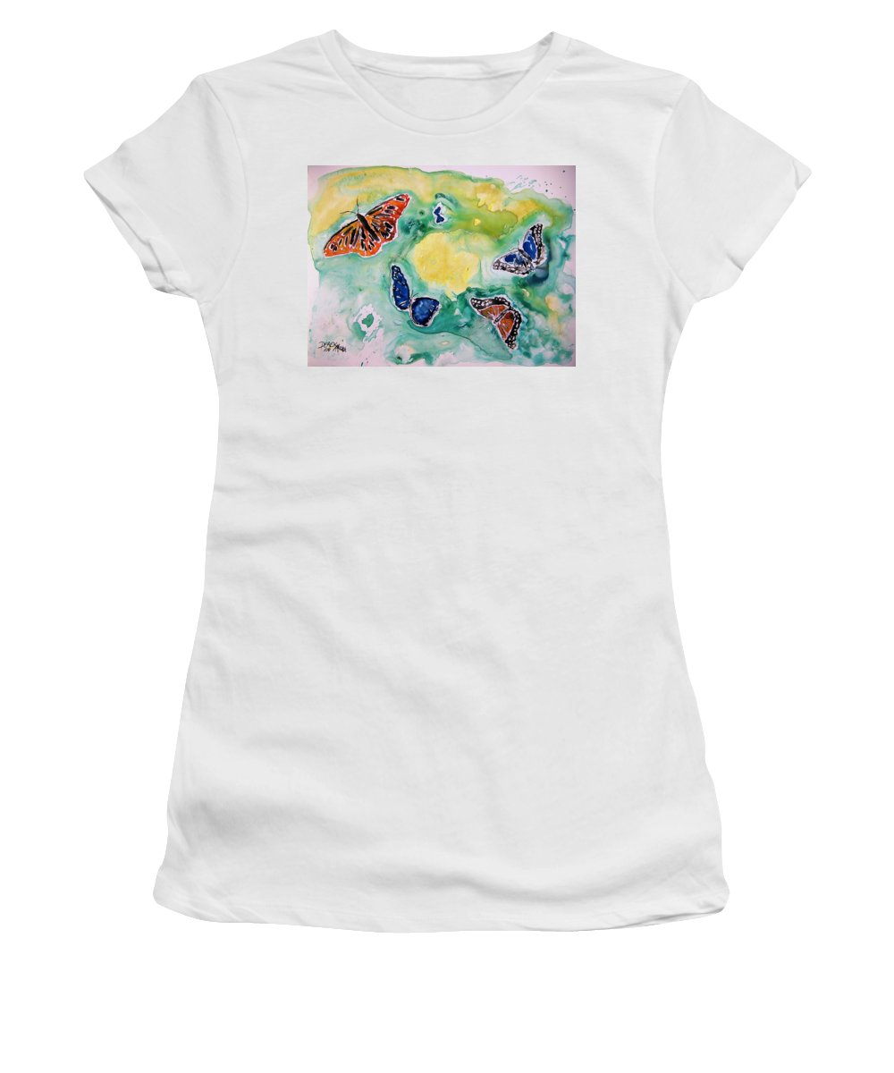 Watercolour Women's T-Shirt (Athletic Fit) featuring the painting Butterflies by Derek Mccrea