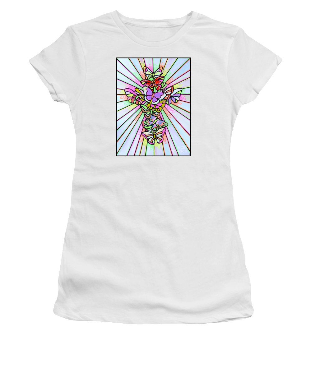 Cross. Easter Women's T-Shirt (Athletic Fit) featuring the painting Butterfly Cross by Jim Harris