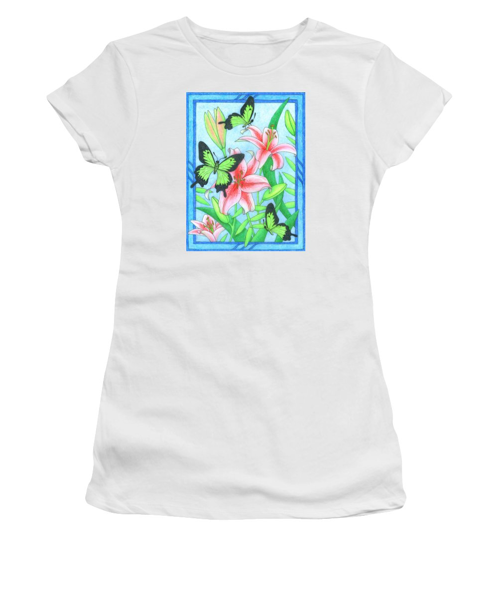 Flower Women's T-Shirt (Athletic Fit) featuring the drawing Butterfly Idyll- Lilies by Alison Stein