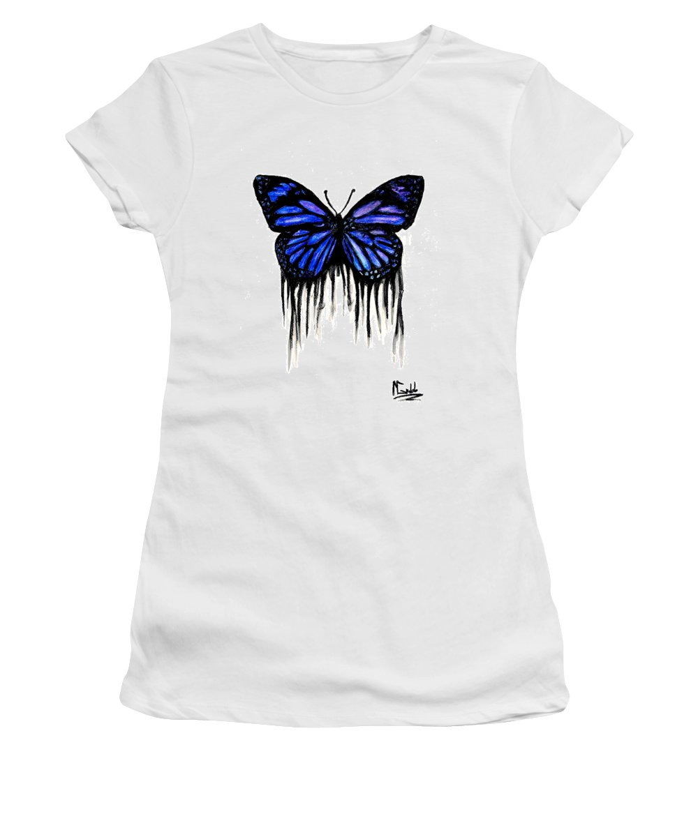 Butterly Women's T-Shirt featuring the painting Butterfly Tears by Michael Grubb