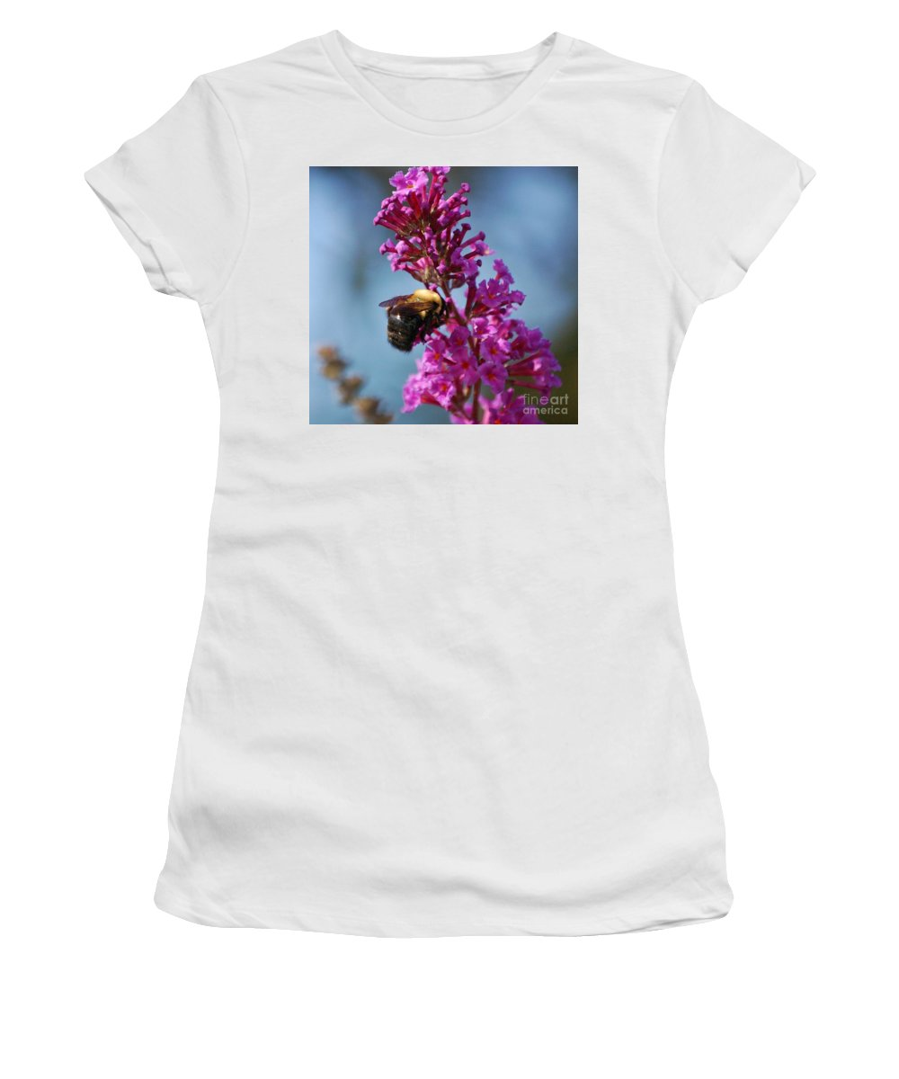 Bee Women's T-Shirt (Athletic Fit) featuring the photograph Buzzed by Debbi Granruth