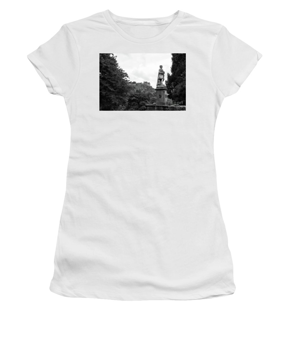 Scotland Women's T-Shirt (Athletic Fit) featuring the photograph Bw Edinburgh Scotland by Chuck Kuhn