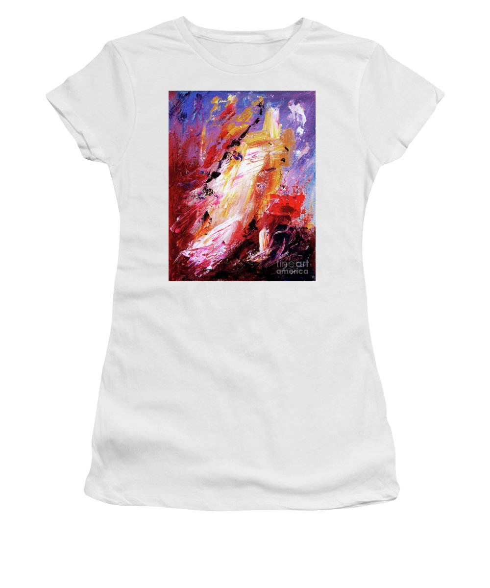 By Herself Women's T-Shirt (Athletic Fit) featuring the painting By Herself 3 by Jasna Dragun
