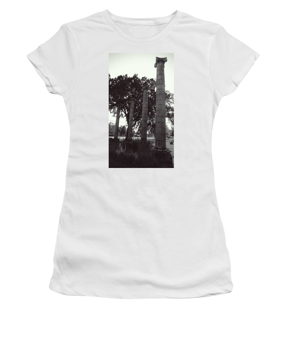 Columns Women's T-Shirt (Athletic Fit) featuring the photograph Bye Gone Era by Cecil Grubbs