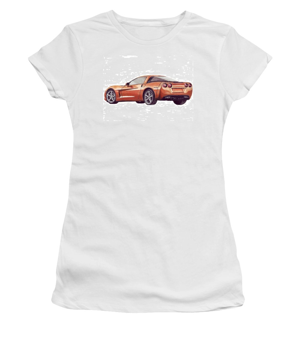 Corvette Women's T-Shirt (Athletic Fit) featuring the drawing C6 by Kristen Wesch