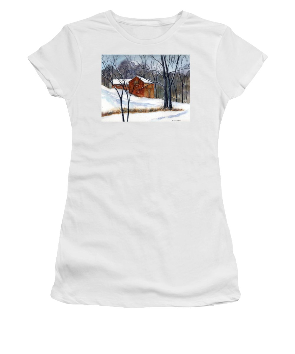 Cabin Women's T-Shirt (Athletic Fit) featuring the painting Cabin In The Woods by Debbie Lewis